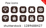 paw icon set. 10 filled paw... | Shutterstock .eps vector #1289688427