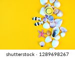 summer background. flat lay... | Shutterstock . vector #1289698267