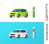 electric car. charging at the... | Shutterstock .eps vector #1289737771