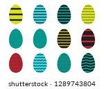 easter eggs icons set for happy ... | Shutterstock .eps vector #1289743804
