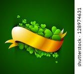 shamrock leaves with golden... | Shutterstock .eps vector #128974631