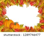 autumn leaves and pumpkins... | Shutterstock . vector #1289746477
