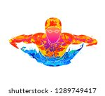 Stock vector abstract of a swimmer butterfly from splash of watercolors vector illustration of paints 1289749417