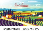 rural landscape with farms ... | Shutterstock .eps vector #1289753197