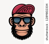 cool monkey in sunglasses and... | Shutterstock .eps vector #1289802334