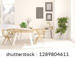 white dinner room with winter... | Shutterstock . vector #1289804611
