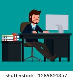 businessman working at the...   Shutterstock .eps vector #1289824357
