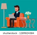 businessman working at the...   Shutterstock .eps vector #1289824384