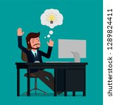 a businessman is happy that he...   Shutterstock .eps vector #1289824411