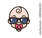 cool baby sucking a pacifier.... | Shutterstock .eps vector #1289836324