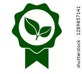 green leaf seal icon. official... | Shutterstock .eps vector #1289857141