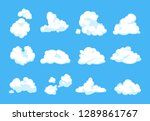 cartoon clouds. blue sky... | Shutterstock .eps vector #1289861767