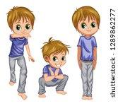 cartoon boy practice capoeira...   Shutterstock .eps vector #1289862277