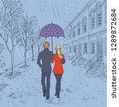 couple walking down the street...   Shutterstock .eps vector #1289872684