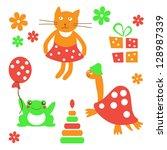 set of cheerful animals  vector  | Shutterstock .eps vector #128987339