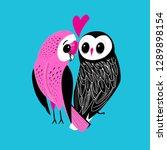 festive postcard of big owls in ... | Shutterstock .eps vector #1289898154