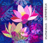vibrant pink lotus design on a... | Shutterstock .eps vector #1289898514