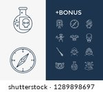 fantasy icon set and child with ...