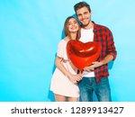 portrait of smiling beautiful... | Shutterstock . vector #1289913427