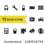 service icons set with wood ...