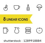 food icons set with fruit  beer ...