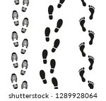 human footprints icon set.  | Shutterstock .eps vector #1289928064