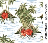 hawaiian vintage island  palm... | Shutterstock .eps vector #1289929921