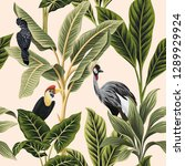 tropical vintage botanical bird ... | Shutterstock .eps vector #1289929924