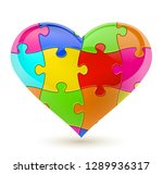 colorful vector puzzle heart | Shutterstock .eps vector #1289936317