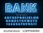 neon light 3d alphabet  extra... | Shutterstock .eps vector #1289968084