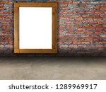 empty wooden billboard on red... | Shutterstock . vector #1289969917