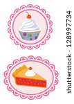 cupcake and cherry pie. eps 10 | Shutterstock .eps vector #128997734