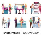 people and product stand.... | Shutterstock .eps vector #1289992324