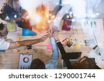 business people putting their... | Shutterstock . vector #1290001744