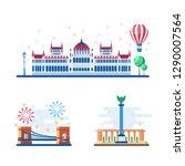 budapest touristic landmarks...   Shutterstock .eps vector #1290007564