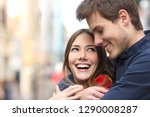 happy couple in love embracing... | Shutterstock . vector #1290008287
