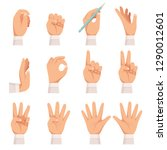 hands gesture. human palm and... | Shutterstock .eps vector #1290012601