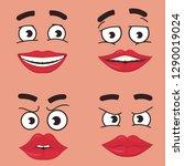 funny faces set cartoon  comics ... | Shutterstock .eps vector #1290019024