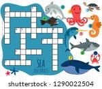 vector sea animals crossword... | Shutterstock .eps vector #1290022504