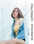 woman teenager portrait hipster ...   Shutterstock . vector #1290027961