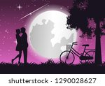couple hug together and kiss... | Shutterstock .eps vector #1290028627