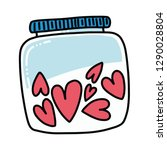hearts in a bottle jar isolated ... | Shutterstock .eps vector #1290028804