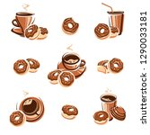 donut set. donuts collection...   Shutterstock .eps vector #1290033181