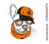 cute dog in cap and glasses.... | Shutterstock .eps vector #1290046474
