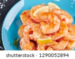 shrimp cocktail background with ... | Shutterstock . vector #1290052894