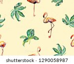 large flamingo hipster red... | Shutterstock . vector #1290058987