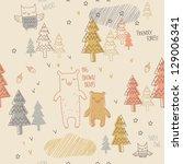 friendly forest seamless pattern | Shutterstock .eps vector #129006341