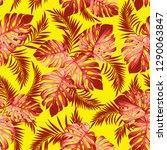 tropical plants pattern | Shutterstock .eps vector #1290063847