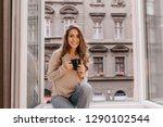 adorable woman expressing... | Shutterstock . vector #1290102544