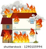 isolated modern house on fire... | Shutterstock .eps vector #1290105994